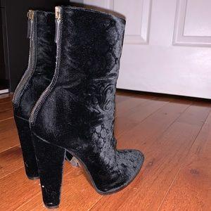 Balmain velvet baroque black boots 37
